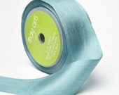 2 yds TEAL BLUE Silk Ribbon 1.25 inches wide   cheswickcompany