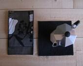 taupe and black mug rug - neutral fabric trivets - set of 4x - hostess gift - floral print - modern home decor