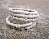 Stacked Bangles, Layered Bangles Set of Five, Linen Bangles, Swarovski Rhinestones Pacific Opal Mint Alabaster, Primitive Bangle Bracelets