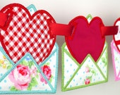"""Love Letter Banner In The Hoop Project Machine Embroidery Designs Applique Patterns all done In-The-Hoop in 3 sizes 4"""", 5"""", 6"""""""