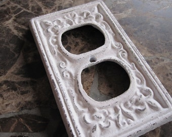 Outlet cover/ Cast iron fleur de lis/ Shabby chic outlet / light switch cover/ lighting/ home decor