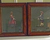 SALE Pair of 75 Year old Framed Needlepoints, Colonial Couple, Original Frames, Needlepoint Wall Decor