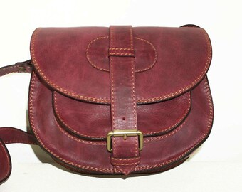 Cherry Red Leather Saddle Bag Messenger Cross-body Purse Goldmann Size S
