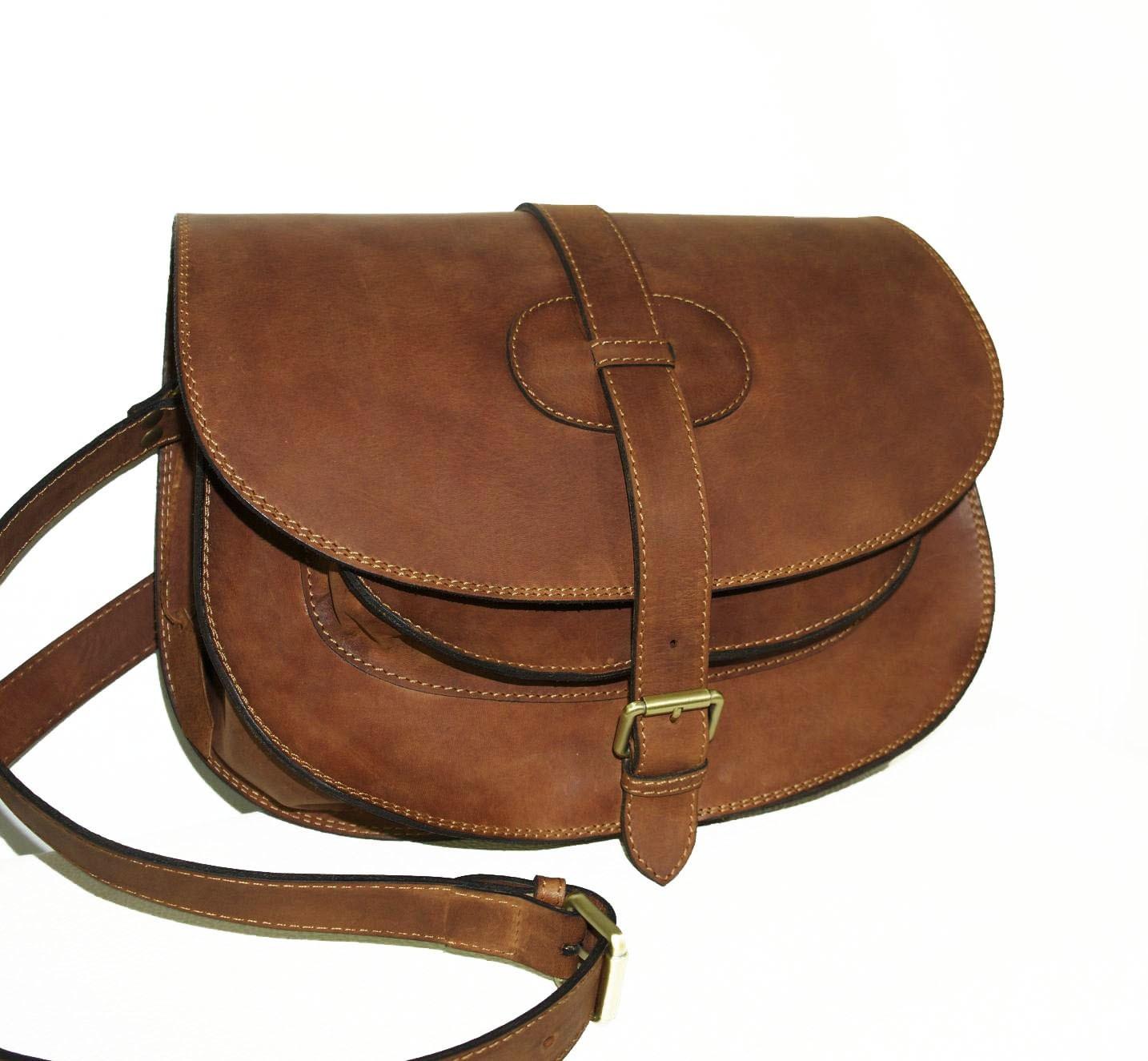 goldmann xl medium brown leather saddle bag leather by
