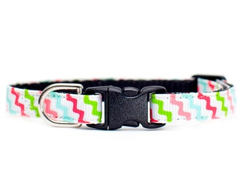 "Cat Collar - ""The Party Animal"" - Multi-Colored Diagonal Zig-Zags"