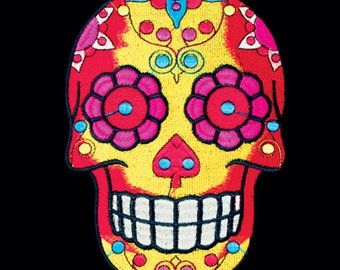 Yellow Sugar Skull Patch Applique Embroidered 7 X 9 Inches 15667