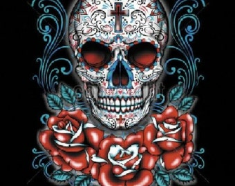 Womans Black Tank Top Day of the Dead Sugar Skull with Red Roses T Shirt  17045
