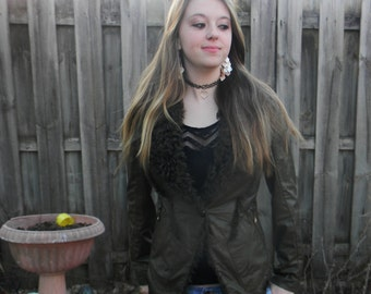 New Real Leather Fur Jacket  Small size