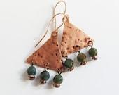 Copper triangle earrings Sale Rustic gypsy dangles Hammered copper jewelry Rose gold wire Geometric beaded earrings