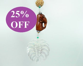 NOW 25% OFF - Tree Frog Netsuke Pendant with Carved Mother of Pearl Leaf