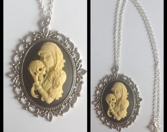 Large Day of the Dead Cameo Necklace