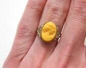 Antique Vintage Uncas Butter Cameo Ring - Molded Celluloid Butterscotch - Size 5.5