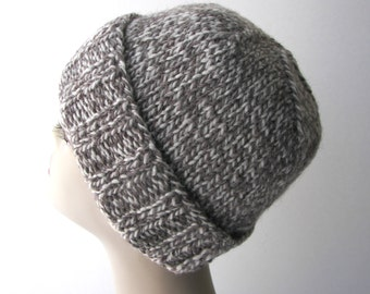 Hand Knit Classic Unisex Beanie Ski Hat Eco Peruvian Wool / Natural Undyed colors / knit folded-up toque