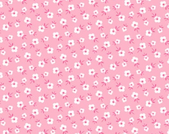 SALE Blossoms coral deco from the FOG City Kitty collection by Pam Kitty Morning for Lakehouse drygoods