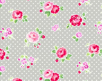SALE Garden floral in Pewter from the FOG City Kitty collection by Pam Kitty Morning for Lakehouse drygoods