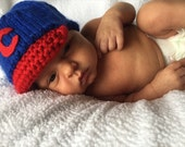 Chicago Cubs Baby Baseball Cap, Newborn Baseball Hat Cubs, Cubs Baby Boy, Cubs Newborn Hat, Handmade Baby Cubs Hat, Photography Prop