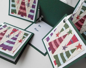 Christmas Gift Tags: Five Pack Set / Flip Open & Handmade - O'Christmas Tree