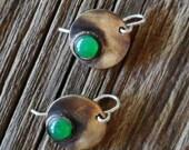 Dainty Green Agate and Brass Dangle Earrings