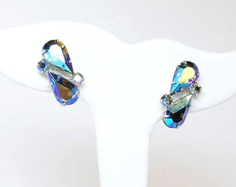 Vintage Coro Aurora Borealis Rhinestone Earrings -  Clip on