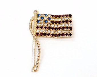 Weiss American Flag Brooch - Red White & Blue Rhinestone Flag - Vintage Designer Signed