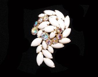 Summer White Rhinestone Brooch - Mid Century Aurora Borealis Question Mark Style - Vintage Jewelry
