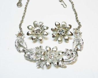 Rhinestone Flower Necklace Earring Set- Vintage Silvertone Semi Formal Promo Wedding Jewelry Demi Parure