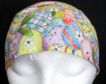 Easter Egg Chemo Cap, Skull Cap, Do Rag, Bandana, Hair Loss, Bald, Head Wrap, Helmet Liner, Women, Children, Handmade, Alopecia, Easter