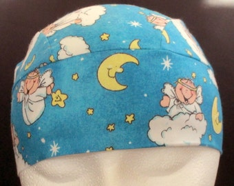 Bluish material with Baby Angels on Clouds Chemo Cap or Skull Cap, Hair Loss, Bald, Children, Do Rag, Hat, Alopecia, Handmade