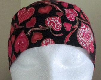 Black Skull Cap with Red Hearts, Chemo Cap, Hats, Handmade, Hair Loss, Bald, Biker, Motorcycle, Head Wrap, Head Wear, Do Rag, Helmet  Liner