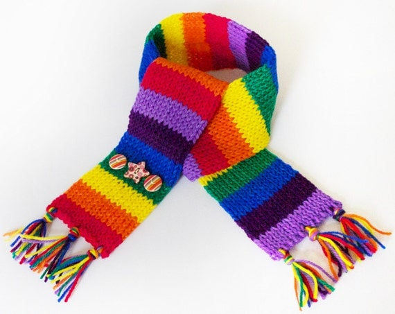 Stripy Rainbow Eco Scarf for Kids - Children's Colourful Scarf Handmade From Upcycled Yarn Pieces