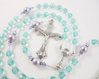 Personalized Rosary in Aqua and Purple - Baptism, First Holy Communion, or Confirmation - Gift for a Girl