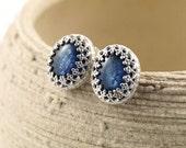 Sterling silver post earrings with kyanite