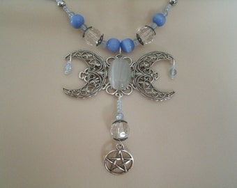 Triple Moon Goddess Pentacle Necklace, wiccan jewelry pagan jewelry wicca jewelry goddess jewelry witch witchcraft pentagram handfasting