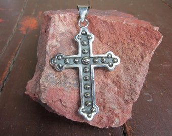 Large mexican Sterling Silver Pendant Cross crucifix Nubs