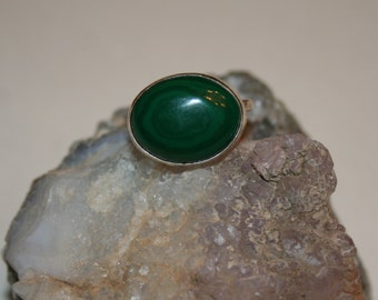 Malachite Ring-malachite ring, malachite stone, stone jewelry, green stone, sterling silver, handmade ring, handmade jewelry, southwestern
