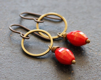 Red Dangle Hoop Earrings, Small Hoop Earrings, Red Earrings, Earthy Earrings