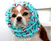 Santa Claus Dog Snood,  Long Ear Coverup, Cavalier King Charles or Cocker Snood, Christmas Holiday Dog Snood