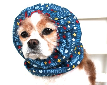 I Love London Dog Snood,  Long Ear Coverup, Cavalier King Charles or Cocker Snood