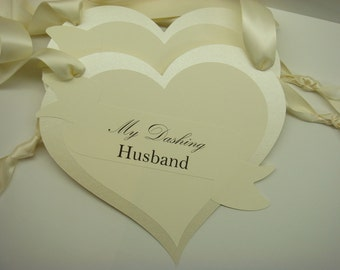 Heart Shape Wedding Chair Signs with Romantic Fairytale Banner Prepared in All of my Card Stock Colors