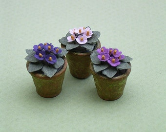 3 African Violets Paper Flower Kit  for 1/12th scale Dollhouses, Florists and Miniature Gardens