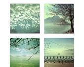 ON SALE Set of four Downloadable digital file home decor turquoise blue aqua mint green landscape photography