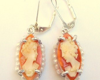 Antique Cameo Earrings, Hand Carved Conch Shell, New Sterling Silver Settings, Vintage Cameo, Carved Shell Cameos, OOAK