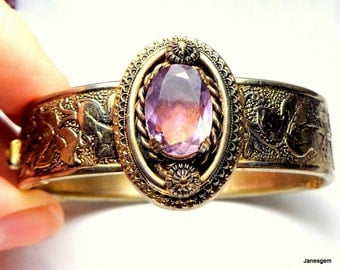 Vintage Art Nouveau, Amethyst, Embossed, Hinged, Wide Bangle Bracelet, Lavender Gemstone, Gold Vermeil, 925, Roaring 20's, Flapper Jewelry