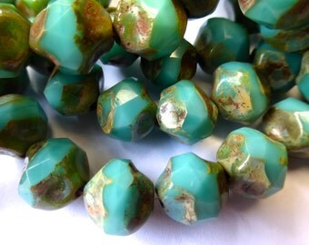 15 Czech Glass Fire Polish Opaque Green Turquoise Center Cut with Picasso Finish 11x10mm size