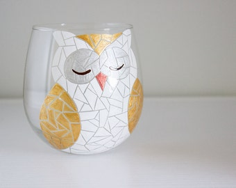 Celebrations Silver and Gold Mosaic Woodland Owl Hand Painted Wine Glass (Stemless or with Stems)