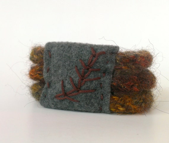 Hand-knit hand-felted cuff bracelet in earth tones with hand-embroidered felt