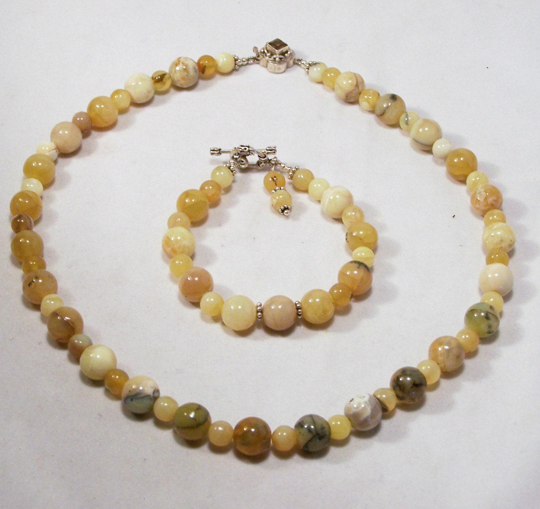 artisan agate bead jewelry set necklace bracelet sterling
