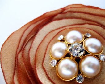 Gold Flower Hair Clip and brooch pin, Pearl Crystal Bridal Wedding Floral Hair Piece