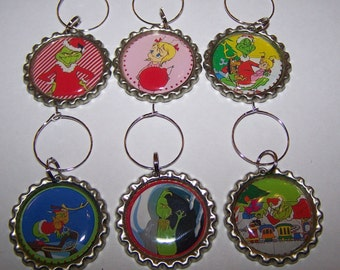 Grinch Wine Glass Charms / Grinch Drink Markers