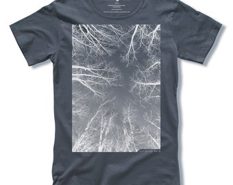 THE FOREST Tree T-shirt Screen Print on Charcoal Grey Mens T-shirt size Small, Medium, Large, XLarge - Free Shipping